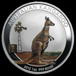 1oz Perth Mint Silver Kangaroo Colored Coin 2012