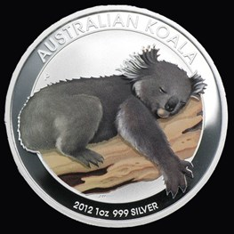 1oz Silver Koala Colored Coin 2012