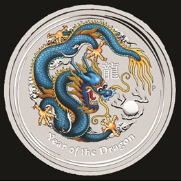 1oz Silver Lunar Dragon (Dark Blue) 2012 Coin PreO