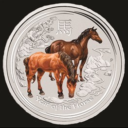 1oz Silver Lunar Horse Colored Coin 2014