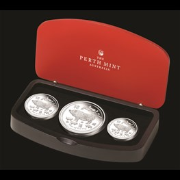 Perth Mint Silver Lunar Pig 3 Proof Coins Set 2019