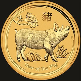 1/4oz Perth Mint Gold Lunar Pig Coin 2019