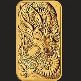1oz Gold Dragon Bullion Rectangular Coin 2021