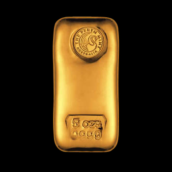 5oz Perth Mint Gold Bar 'Cast'
