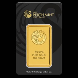 100g Perth Mint Gold Bar (Black Swan Certicard)