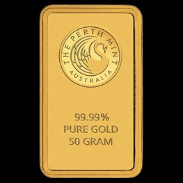 50g Perth Mint Gold Bar (Certicard)