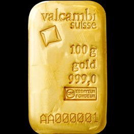 100g Valcambi Cast Gold Bar