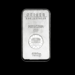 "100g Geiger Security Line Silver Bar ""Minted"""