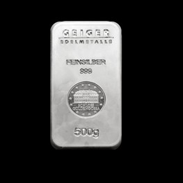 "500g Geiger Security Line Silver Bar ""Minted"""